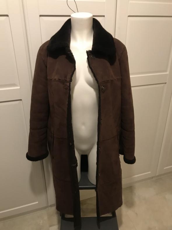 Odzież wierzchnia Brązowy kożuch płaszcz skóra