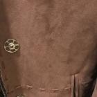 Brązowy kożuch płaszcz skóra