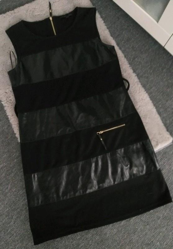 Sukienka czarna skórzane wstawki Cur Moda L