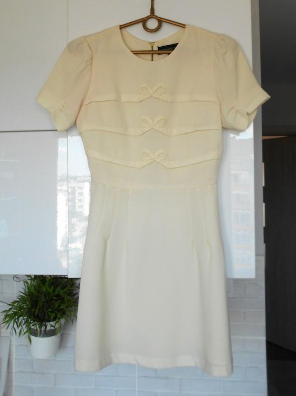 Topshop kremowa sukienka kokardki pensjonarka...