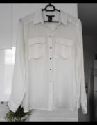 HM elegancka biała koszula mgiełka zwiewna kieszenie srebrne gu...