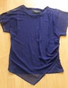 Granatowa asymetryczna bluzka Zara...