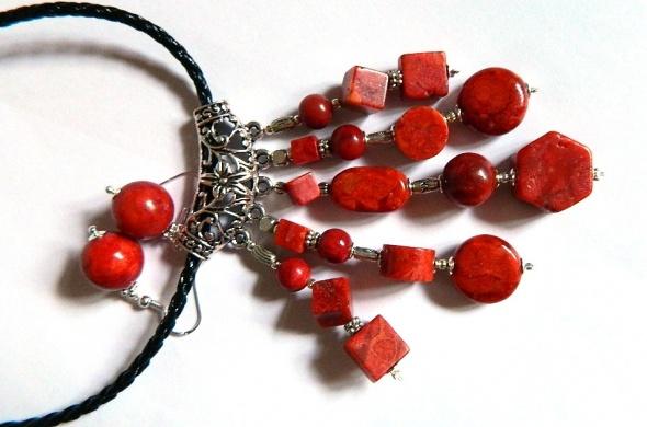 Koral czerwony dużyefektowny wisior i kolczyki zestaw biżuterii
