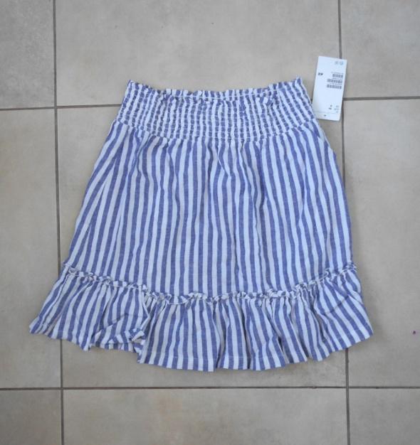 Spódnice HM nowa spódniczka mini paski falbanki len lniana