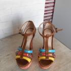 Aldo koturny sandały na lato azteckie wzory print paski skóra skórzane
