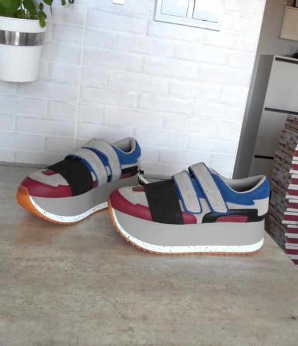 Sportowe Zara nowe sneakers buty platformy adidasy skóra
