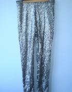 HM nowe cekinowe srebrne spodnie cekiny legginsy...