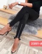 Spodnie jeansy czarne za suwaki zipy XS S M L XL
