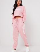 Playboy&missguided różowe spodnie dresowe...
