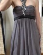 Sukienka grecka szara ozdobny dekolt koraliki bombka xs s 34 36...