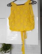 Zara nowy krótki koronkowy top żółty kokarda koronka...