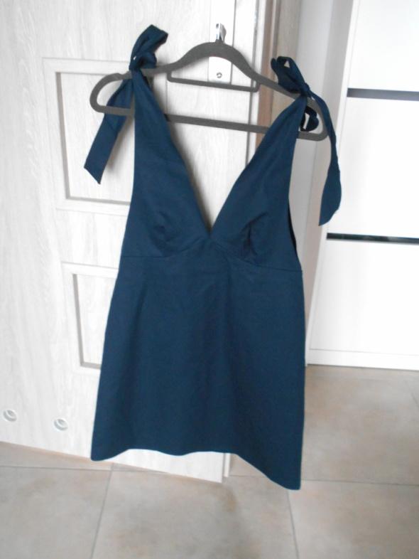Zara nowa granatowa sukienka kokardy wiązana