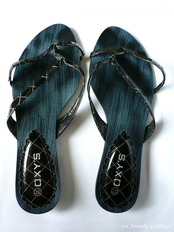 Japonki Czarne japonki Oxys 37 stan idealny buty na lato