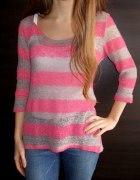 Sweterek w różowo szare paski Next 40 L 38 M 36 S...