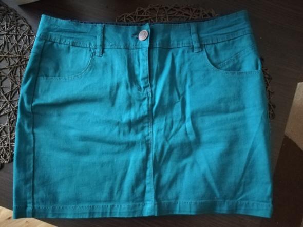 Spódnica krótka mini tuba ołówkowa zielona niebieska S