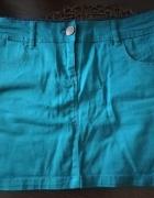Spódnica krótka mini tuba ołówkowa zielona niebieska S...