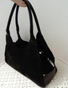 Czarna skórzana torebka skóra naturalna zamsz