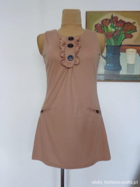 Suknie i sukienki Atmosphere beżowa princeska z guzikami 42 40