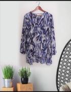 XL Zwiewna tunika dłuższy tył szaro niebieskie mazaje