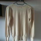 Beżowy sweterek ozdobne ramiona beżowy kremowy 36