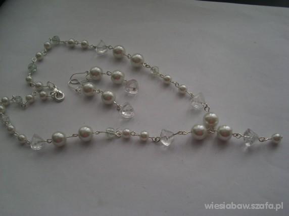 Piękny komplet biały perły kryształ