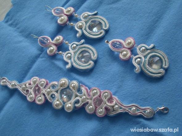 Kolczyki wisior sutasz biało liliowo błękitne