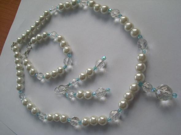 Komplet perłowy biały błękit