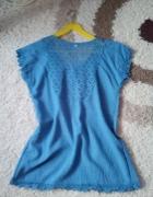 Niebieska denim bluzeczka z koronką...