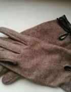 Brązowe rękawiczki z kokardką S