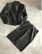 Komplet marynarka i spódnica zielony w kratę khaki