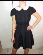 Kloszowana sukienka pensjonarka krata...