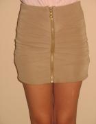 Beżowa bandażowa spódnica złoty zip zamek XS S...
