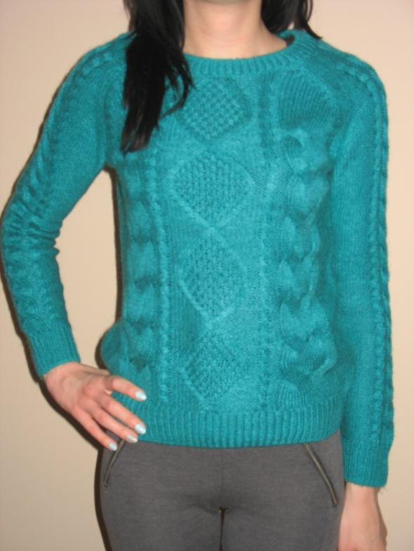 Miętowy ciepły sweterek H&M XS 34