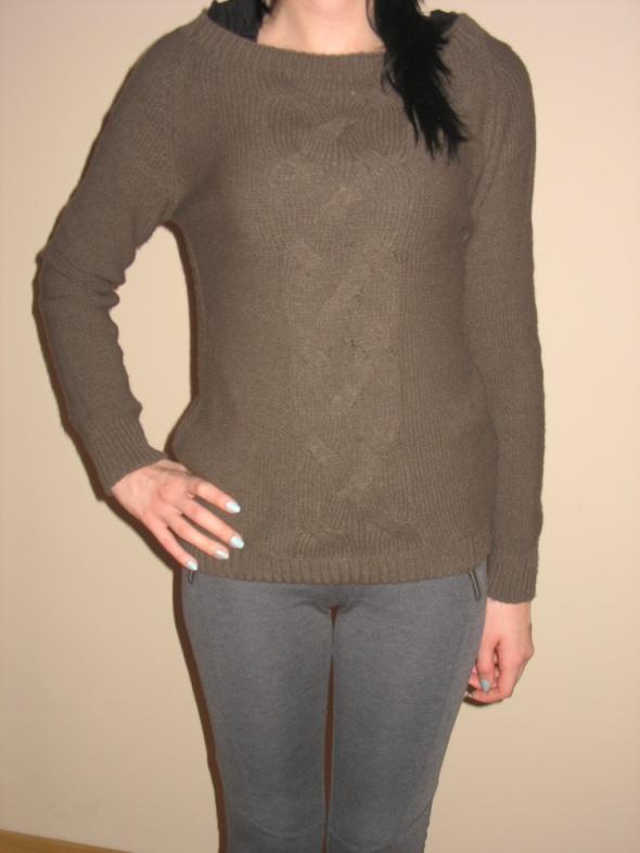 Brązowy ciepły pleciony sweter XS S 34 36