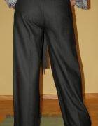 Szerokie spodnie z wełną czarne M L wide szwedy