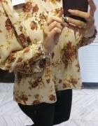 Zara Basic szyfonowa bluzka w róże nowa z metką L...