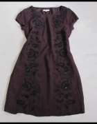 Sukienka ciemny fiolet z haftem raz noszona 40 L...