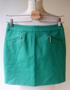 Spódniczka Zielona H&M XS 34 Zip Elegancka Do Prac...