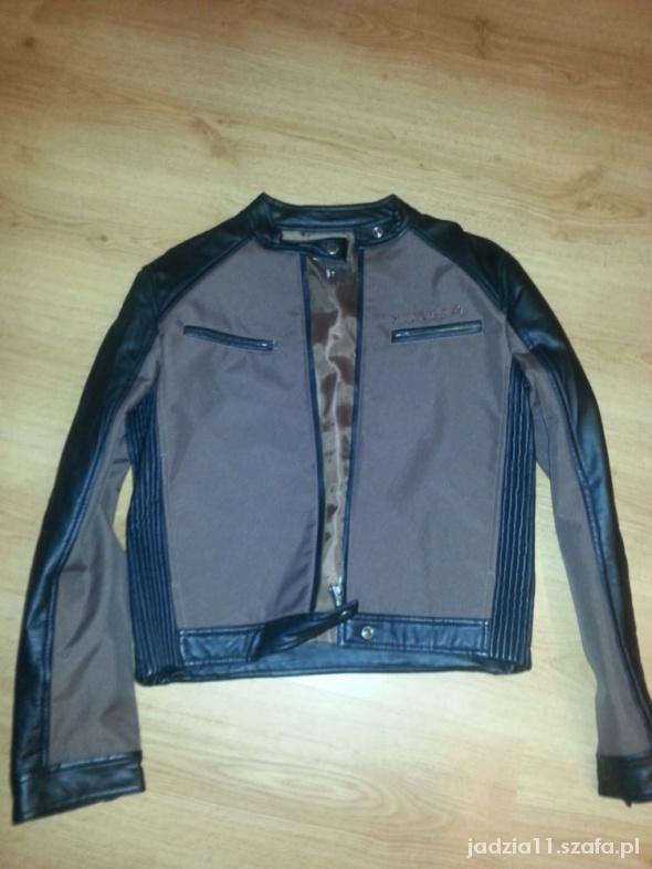 Odzież wierzchnia cudna kurtka brązowo czarna z naturalnej cielęcej