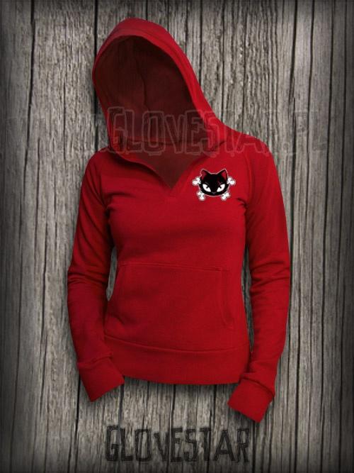 Czerwona bluza z kotkiem GLOVESTAR PUNK EMO