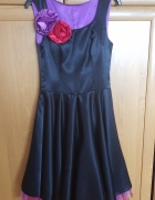 Czarna satynowa sukienka rozmiar XS S