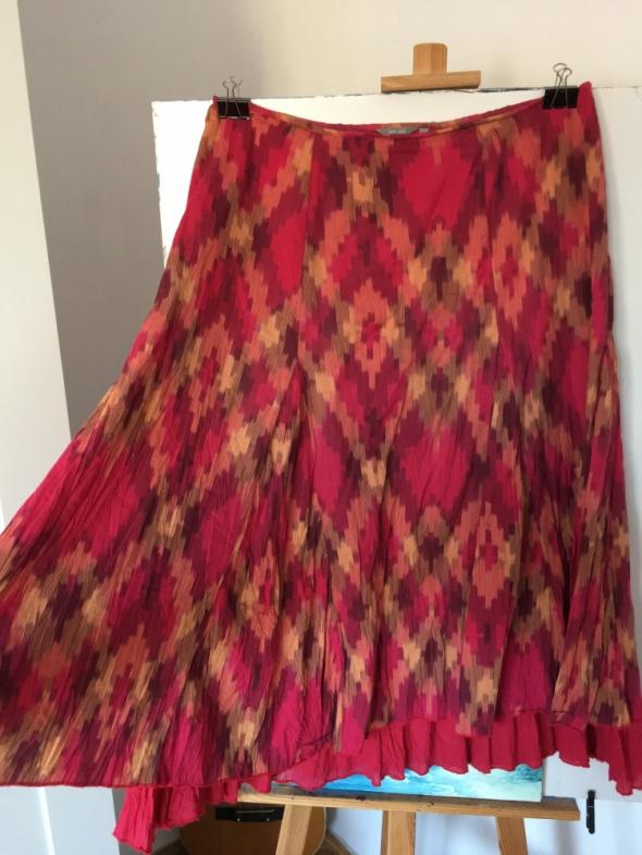 Czerwono rozowa rozkloszowana spodniczka rozm xxl