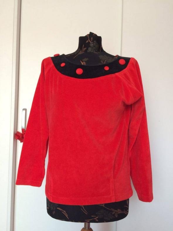 Czerwona pluszowa bluza retro vintage glamour