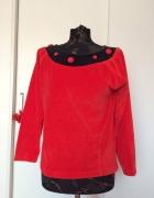 Czerwona pluszowa bluza retro vintage glamour...