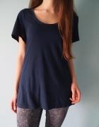Granatowa koszulka H&M L 40 oversize 38 36 tshirt