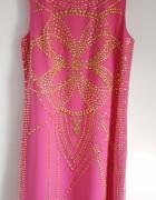 Sukienka Versace dla H&M różowa jedwabna złote dżety cekiny 38 ...