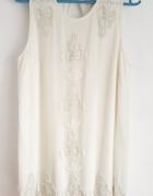 Elegancka sukienka River Island 40 L biała kremowa