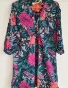 Piękna egzotyczna tunika H&M S 36 bawełniania bluz...