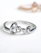 Nowy pierścionek cyrkonia LOVE srebrny kolor posrebrzany miłość...