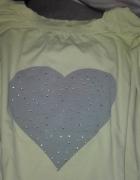 Bluza bluzka żółta z szarym sercem S